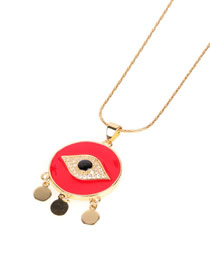 Fashion Red Dripping Eye Circle Necklace With Diamonds