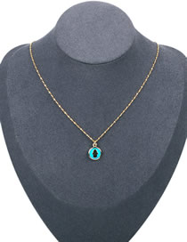 Fashion Lake Blue Dripping Palm Round Necklace
