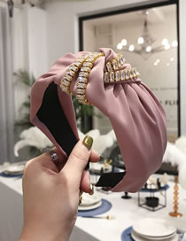 Fashion Pink Zircon Double Chain Knotted Wide Edge Hair Band