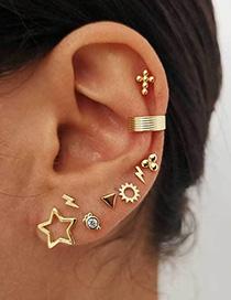 Fashion Golden Pentagram Diamond Lightning Stud Earrings Set