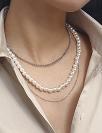 Fashion White K2718 Pearl Geometric Triple Layer Necklace