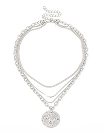 Fashion White K2654 Crab Embossed Multilayer Necklace