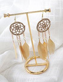 Fashion Yellow Feather Dreamcatcher Earrings