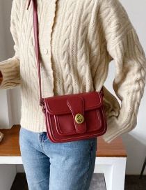 Fashion Red Covered Lock Shoulder Crossbody Bag