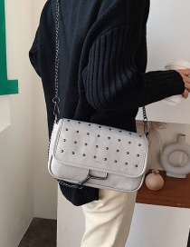 Fashion Light Grey Studded Chain And Embroidered Shoulder Bag