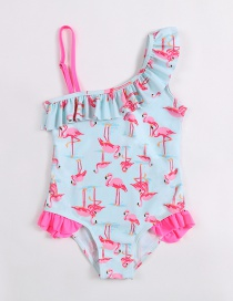 Fashion Pink Printed Flamingo Fungus One-piece Children's Swimsuit