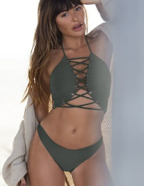 Fashion Armygreen Lace-up Split Swimsuit
