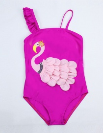 Fashion Water Pink Printed Fungus Flamingo One-piece Swimsuit