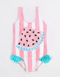 Fashion Pink Watermelon Print Fungus One-piece Swimsuit