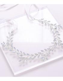 Fashion Silver Crystal Leaf Headband