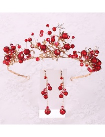 Fashion Red Ear Pin Zircon Star Crown Hoop Earring Set