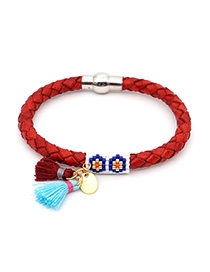Fashion Red Rice Beads Woven Fringed Leather Bracelet