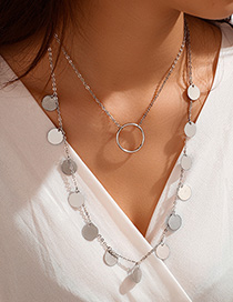 Fashion Silver Alloy Disc Large Circle Multilayer Necklace
