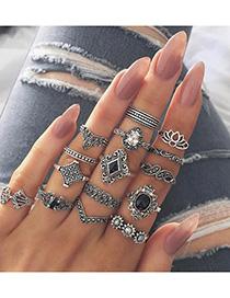 Fashion Original White Crystal Glazed Bead Flower Open Ring