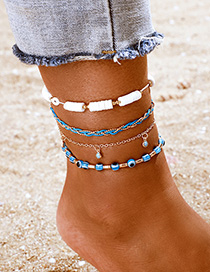 Fashion Blue Gold Bead Eye Broken Shell Tassel Multilayer Anklet Set
