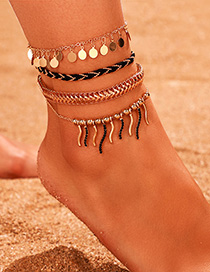 Fashion Silver Color Wave Fishtail Alloy Multilayer Anklet