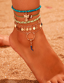 Fashion Color Diamond High Heel Wild Goose Round Tassel Anklet Set
