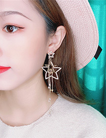 Fashion Yellow Alloy Star Diamond Earrings