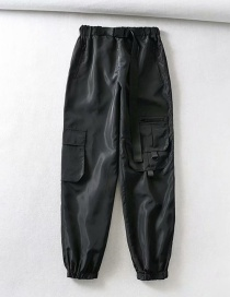 Fashion Black Multi-pocket Belt Trousers