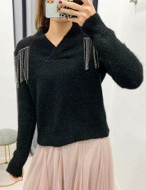 Fashion Black Fringe And Diamond Knitted Sweater