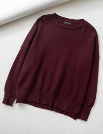 Fashion Red Wine Side Slit Round Neck Knitted Sweater