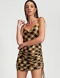 Fashion Yellow Lace-up Drawstring Checked Open-back Dress