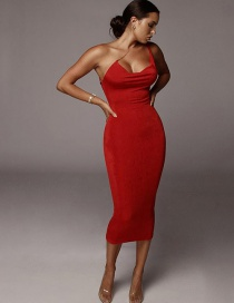 Fashion Red Open Shoulder Dress With Metal Straps