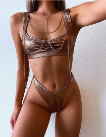 Fashion Brown Pit Pattern Bronzing Split Bikini