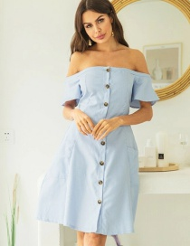 Fashion Sky Blue Off-the-shoulder Single-breasted Pleated Open-back Dress