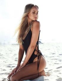 Fashion Black Leaky Back Straps Siamese Swimwear
