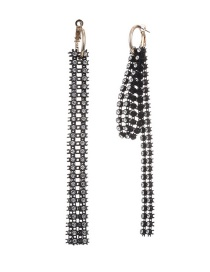 Fashion Black Metal And Diamond Tassel Irregular Earrings