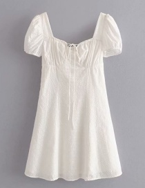 Fashion White Square Collar Embroidered Lace Dress