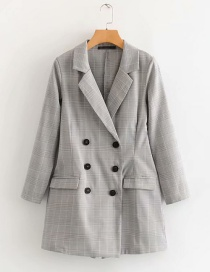 Fashion Gray Checked Double Breasted Suit Jumpsuit