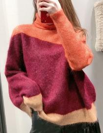 Fashion White High Neck Zipper Loose Sweater Sweater
