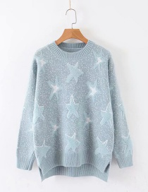 Fashion Blue Five-pointed Star Jacquard Crew Neck Sweater