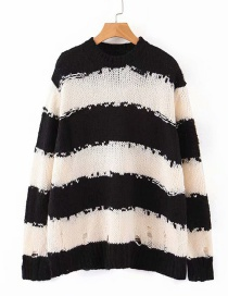 Fashion Black And White Bars Cutout Mohair Chunky Striped Cutout Knitted Sweater