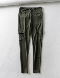 Fashion Army Green Solid Color Yoga Pants