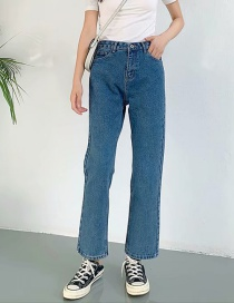 Fashion Blue Washed High-rise Straight-leg Jeans