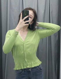 Fashion Green V-neck Single Breasted Knit Cardigan