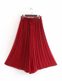 Fashion Red Pleated Lace-up Wide-leg Pants
