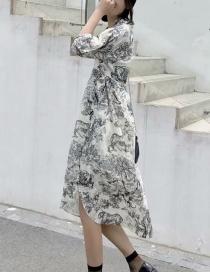 Fashion Beige Ink Painting Print V-neck Dress