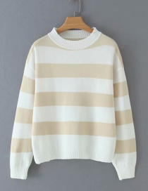 Fashion Beige Striped Crew Neck Sweater