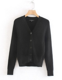 Fashion Black Ribbed Knit Single-breasted V-neck Sweater Cardigan