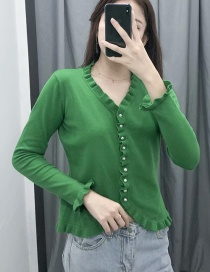 Fashion Green Ruffled Knit V-neck Single-breasted Sweater Cardigan