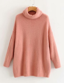 Fashion Pink Turtleneck Knitted Sweater