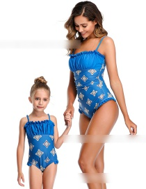 Fashion Sapphire Pleated Printed Ruffled One-piece Swimsuit For Children