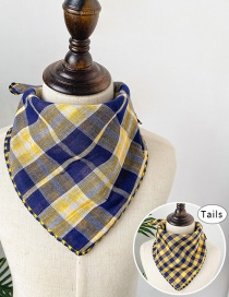 Fashion Plaid Blue + Yellow Double-sided Plaid Baby Triangle Towel
