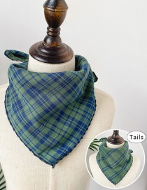 Fashion Large Grid Green Double-sided Plaid Baby Triangle Towel