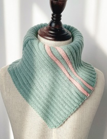 Fashion Light Green Contrast Wool Neck Scarf For Children