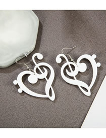 Fashion White Acrylic Love Notes Earrings